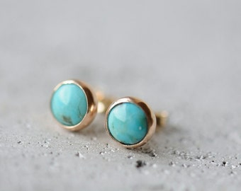 14K gold and turquoise studs, 6 mm round posts, solid 14K gold earrings