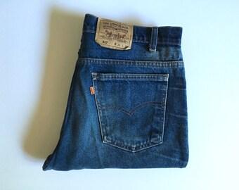 Vintage Men's 80's Levi's 517, Jeans, Dark Wash, Denim, Straight Leg, Orange Tab (W36 x L31)