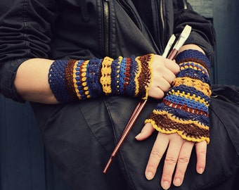 Color palette: Starry Night - crocheted open work multicolored wrist warmers mittens cuffs gipsy boho style
