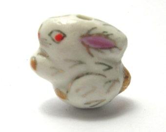 White Porcelain Rabbit Focal Bead