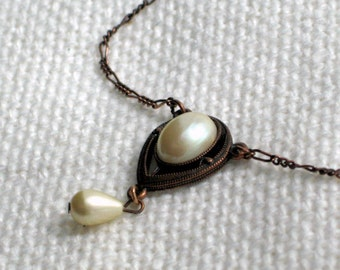 Signed Necklace 1928 Brand Vintage Costume Jewelry Faux Pearls