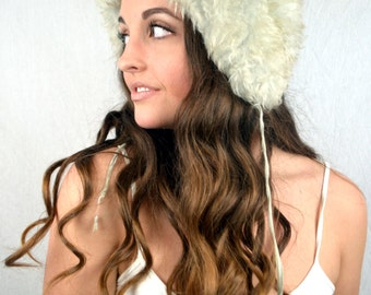 Vintage Gray Sheepskin Lamb Fur Hat