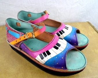 Amazing Rare Vintage Hand Painted Leather Shoes - Tire Sole - Piano Music Scene