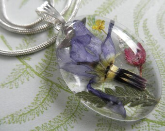 Spiritual Blue Shooting Star, Pink Heather, Queen Anne's Lace Pressed Flower Small Glass Oval Pendant-Gifts Under 30-Symbolizes Loyalty