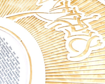 Metallic Gold Calligraphic Ketubah Papercut - Metallic Gold painted layer on Modern Ketubah Print with Papercut layer - MY BELOVED KETUBAH
