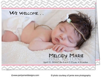 Digital File Print it Yourself/Baby Birth Announcements/you can change the colors/Melody design