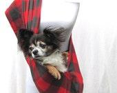 Pet Dog Sling Carrier- Red and Blackish Greyish Plaid- Lumberjack Plaid with Shoulder pocket