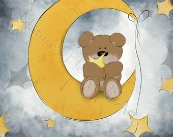 Baby Nursery Art, Teddy Bear Decor for Kids Room, 5 x 7 Moon and Stars Art for Children, Blue Babys Room Wall Art  (222)