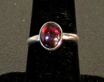 Sterling silver and Red Garnet gemstone cabochon ring