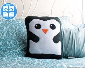Decorative Pillow  - Penguin Pillow - Home Decor - Bird Shaped Pillow - Gift for Children - Baby Room Decor - Cute Gift - Ships Fast!