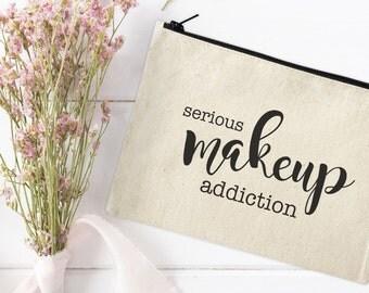 Canvas Makeup Bag - Make Up Pouch - Canvas pouch - Cosmetic pouch - Cosmetic Bag - Makeup Organizer - Cosmetic Canvas Bag - Makeup addiction