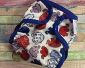 Patriotic Elephant Walk Polyester PUL Cloth Diaper Cover With Aplix Hook & Loop Or Snaps You Pick Size XS/Newborn, Small, Medium, Large, OS