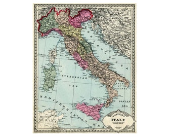 Printable map of Italy.  Old Italian map originally issued around 1900.  Use  for decoupage, wall display or travel