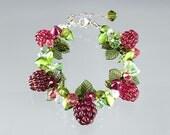 Raspberry Bracelet adjustable length w lobster clasp. Art glass beaded bracelet w lampwork sculpture raspberriesi. Gift for her.
