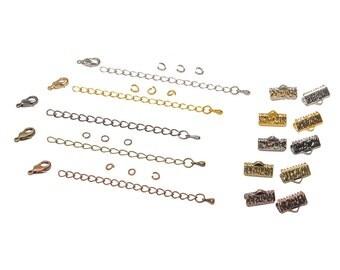 13mm  ( 1/2 inch ) Ribbon Choker or Ribbon Bracelet Findings Kit - Bronze, Gold, Silver, Gunmetal, Copper - Artisan Series