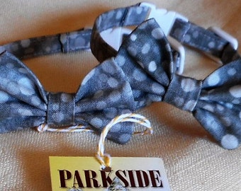 Grey Cat Bow Tie Collar