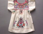 Vintage Mexican Child Dress Embroidery Baby Girl Dress