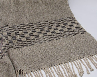 Shawl/poncho/scarf oatmeal/charcoal handwoven cotton