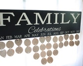 Family Birthday Anniversary Board Sign Celebrations with wood discs
