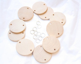 Extra 10 Wood Discs and 10 Jump Rings