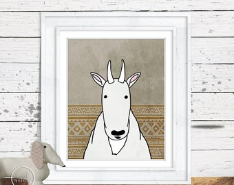 Mountain Goat Illustration Children's Art Printable - Instant Download 8x10