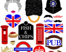 London photo booth props instant download