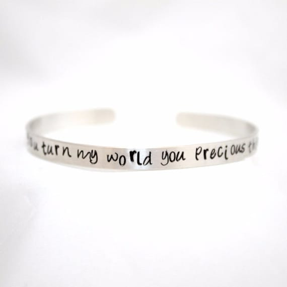 How you turn my world you precious thing, Labyrinth Quote Bracelet,  Labyrinth Bracelet, Aluminum Jewelry