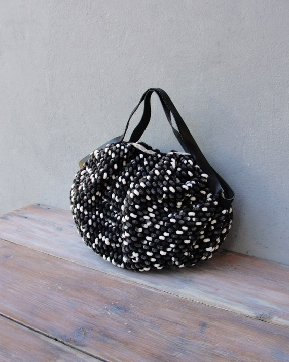Texture and Stripes Bag - Crocheted Chenille Puffy Happy Bag Black and White