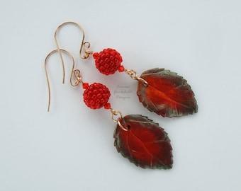 Red berry earrings, red leaf earrings, bronze earrings, leaf earrings, autumn leaf, fall leaf, autumn leaves, bronze earrings, dangle