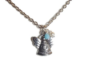 Childrens Necklace. Child Necklace. Angel Necklace. Girls Angel Necklace. Girls Jewelry
