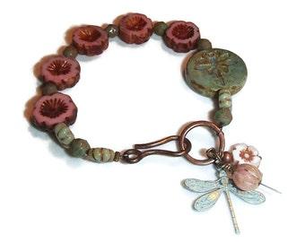 Czech Glass Flowers Bracelet. Dragonfly Focal. Dragonfly. Czech Glass. Feminine. Boho