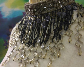 Beaded Choker Necklace - Bib Necklace - Olive Green - Flapper - Noir - I am Joolienn