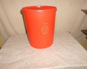 Orange Tupperware Canister Large
