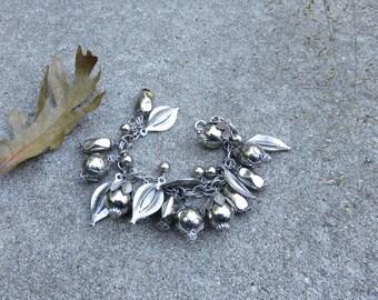 "Silver metal berries and leaf charm bracelet   Chunky vintage charm bracelet 8"""