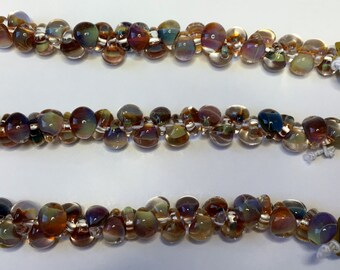 Morning Pearl Mix Unicorne Boro Teardrops, 25 Beads per Strand, Mix Strand Lamp Work Teardrop Beads