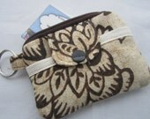 Zippy Wallet Pouch Key Floral Brown  Card holder -