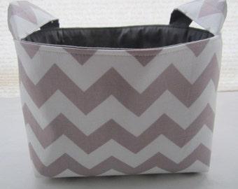 Organizer Storage Basket Bin Container Fabric - Chevron Light Gray Zig Zag
