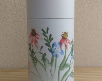 Eco-Friendly White Cremation Urn Scattering Tube w/Telescopic Lid - Natural/Biodegradable - Hand Painted!