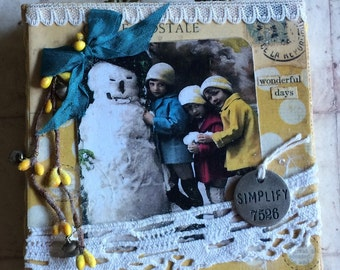 Vintage Style Chunky Canvas featuring old Postcard Children with Snowman