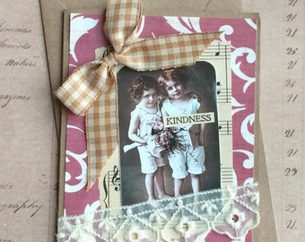 Kindness Handmade Greeting Card  featuring Vintage Postcard of Best Friends