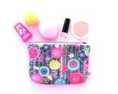 Cosmetic Bag - Fun Floral - JANUARY INDEPENDENT ARTIST - makeup case, make up bag, zipper pouch, project bag, pencil case