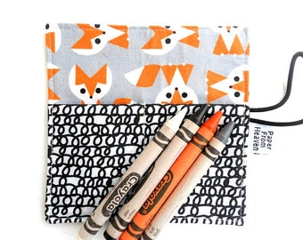 Mini Crayon Roll  - Picture Pie Fox - small crayon holder, organic fabric, animal party favor, toddler gift