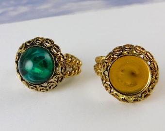 2 pcs Gold Ring Blanks 11mm Adjustable Vintage Antique Gold Ring Form R-7