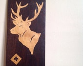 Vintage Wooden Buck Wall Hanging.