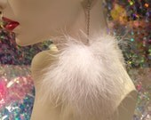 White Fluffy Pom Pom Earrings