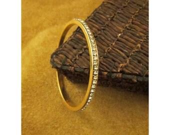 Diamond Rhinestone Bangle Bracelet – Faux Diamonds in Gold Tone Setting – Vintage Costume Jewelry