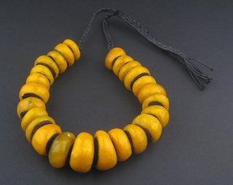 25 Amber Beads - Berber Resin - Rare Graduated Strand - African Amba Trade Beads - Yellow Made in Morocco Necklace Jewelry (AMB-RND-YLW-103)