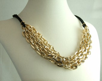 Leather and Gold Necklace (BoyJewels)