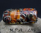 The golden, silver Treasure - Glass Art - Lampwork focal bead by Michou P. Anderson