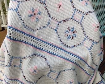 Vintage handmade pink blue white embroidered crocheted afghan. Vintage afghan. Handmade afghan. Vintage handmade afghan.